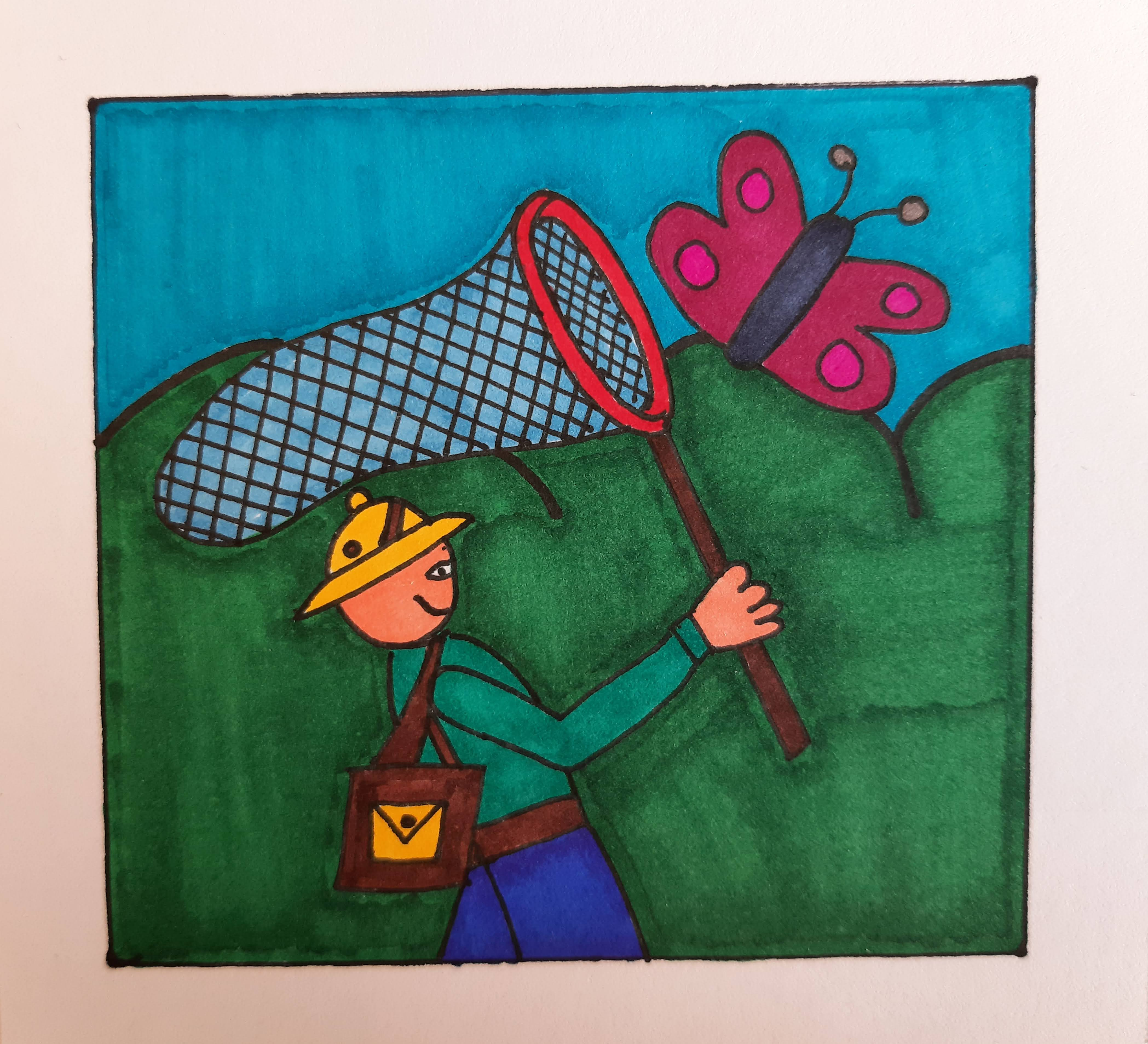drawing of an entomologist capturing a butterfly with a net