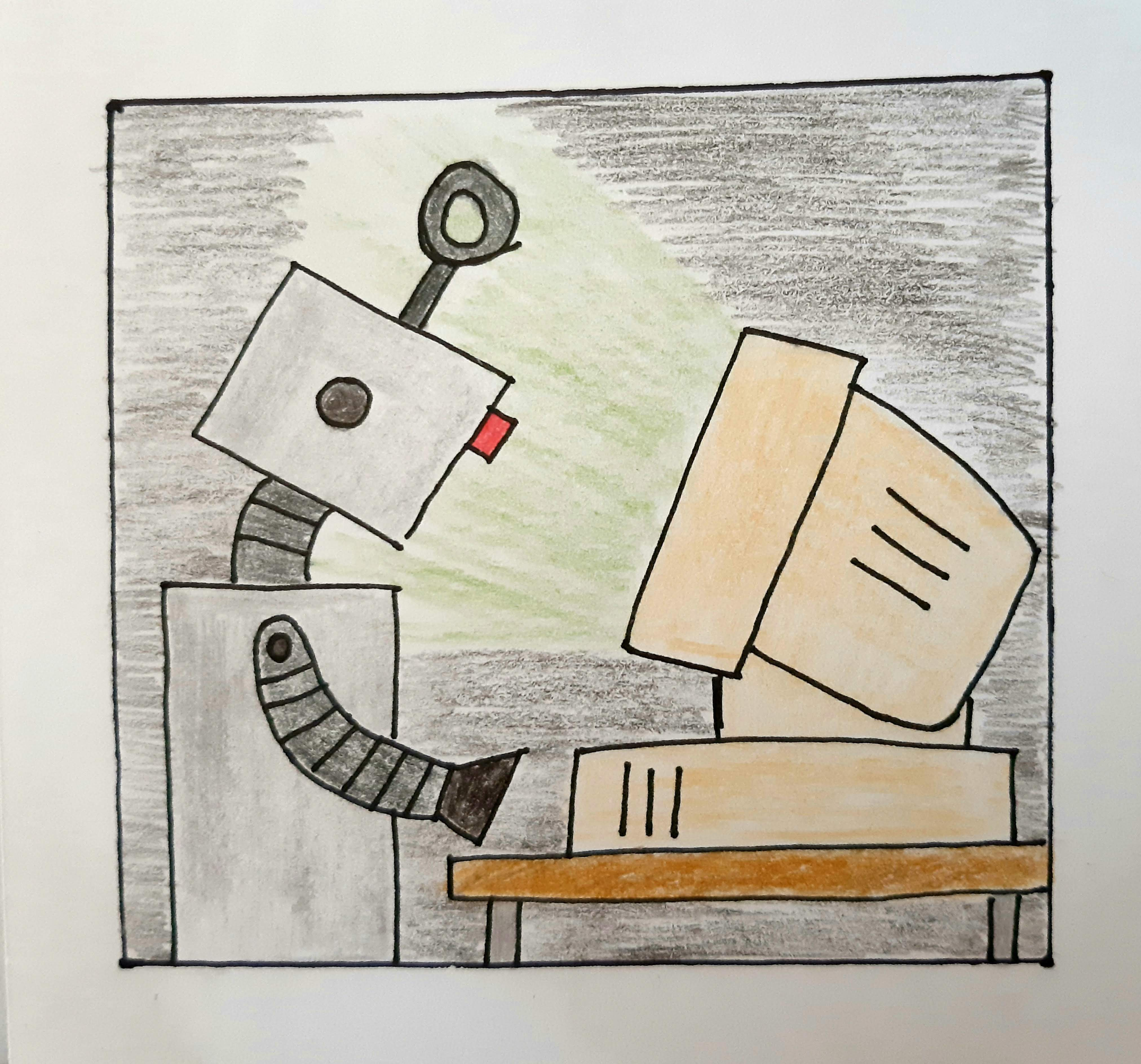 drawing of a robot behind a computer