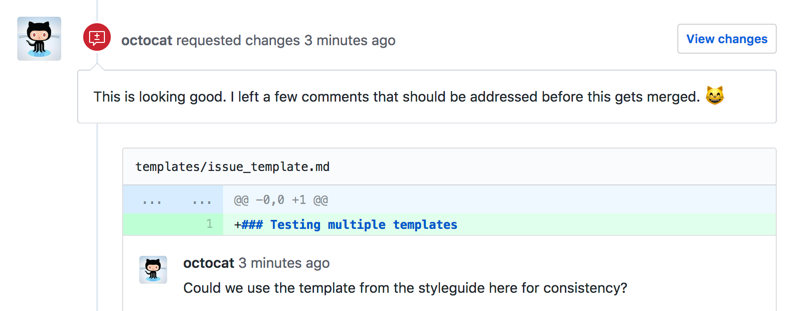 github code review example