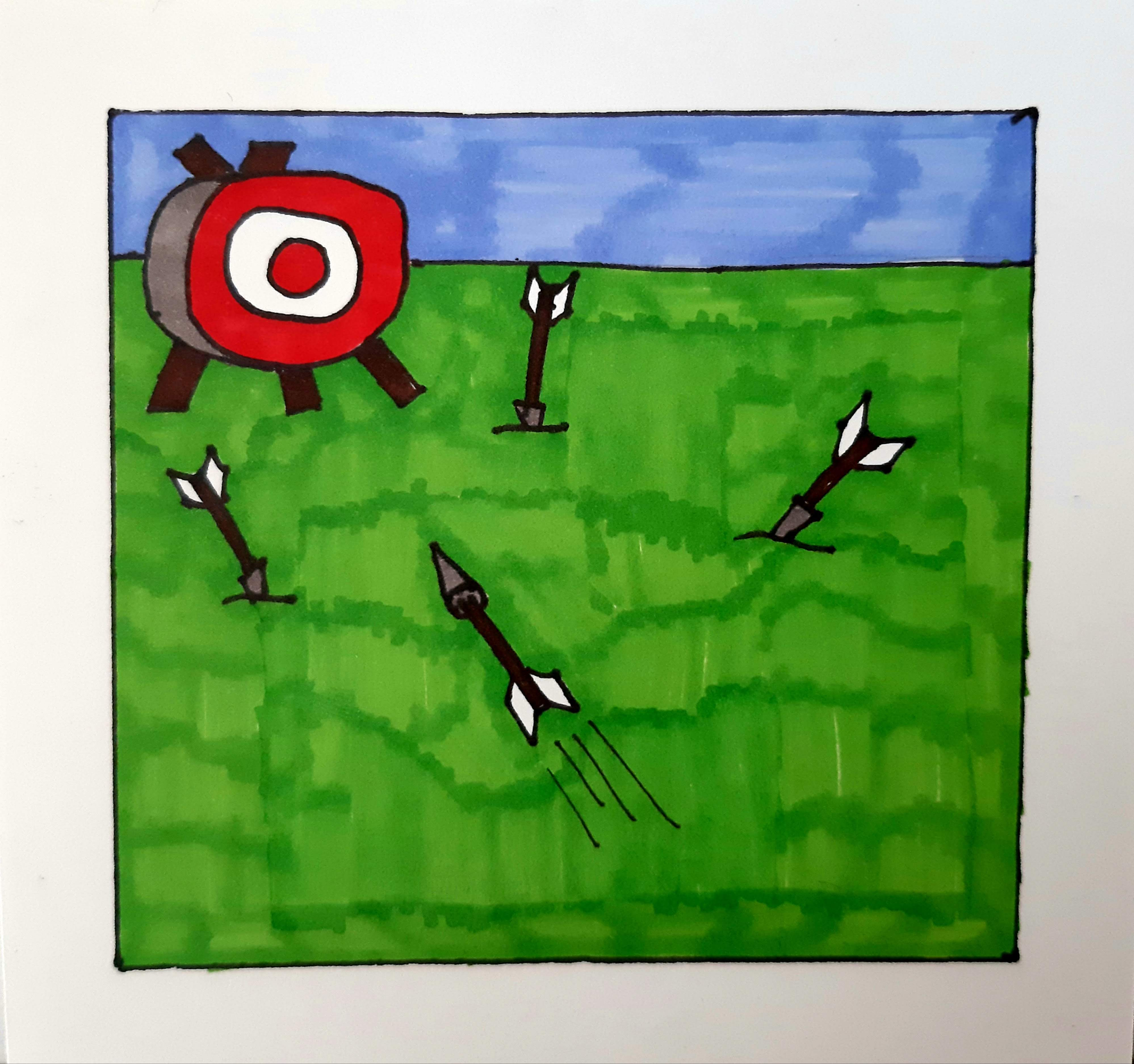 drawing of arrows hitting a target
