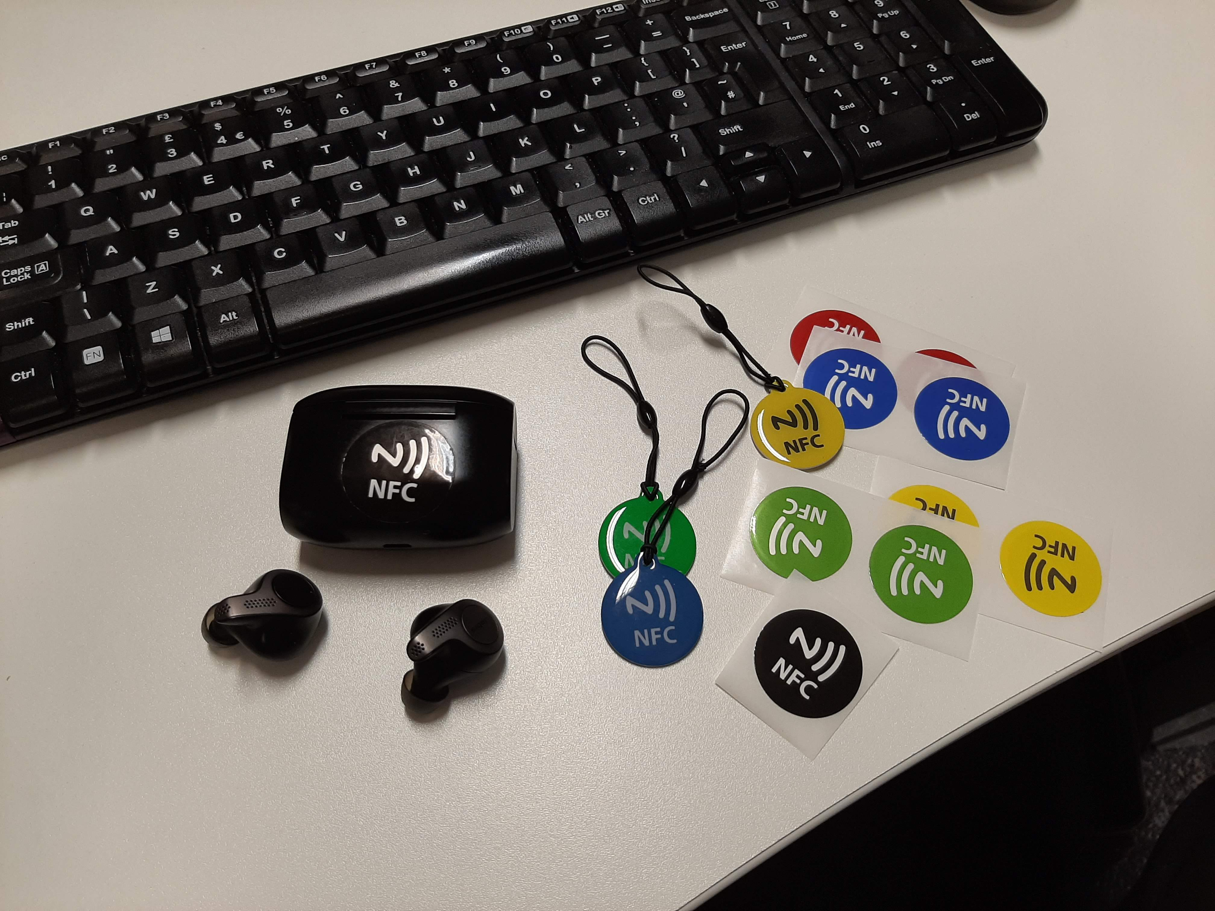 desk with various nfc tags