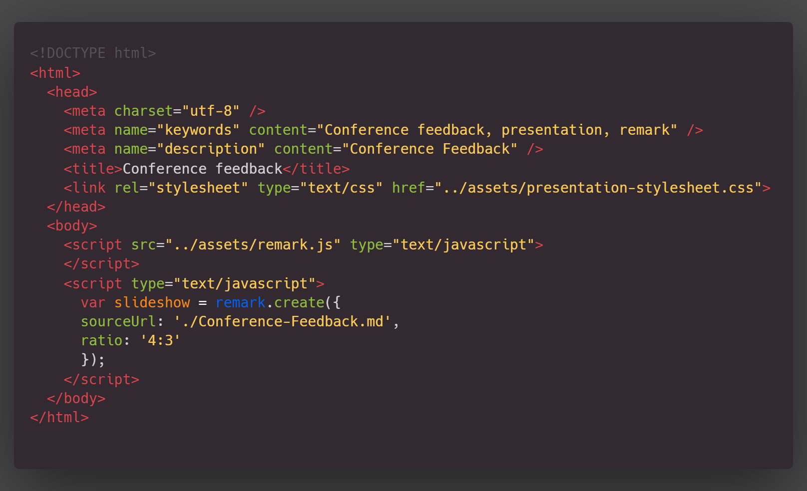 HTML example. code snippet in article text